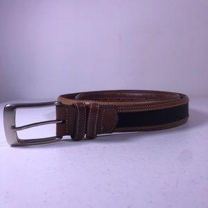 Joseph A Bank Leather Canvas Belt